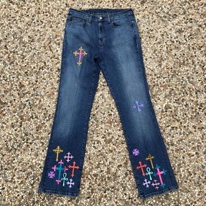 RL Polo Jeans 10 Hi Rise Flare Embroidered Crosses